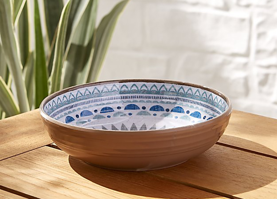 Unbreakable Outdoor Summer Dishes: Caprice Medallion Melamine Bowl from Crate and Barrel