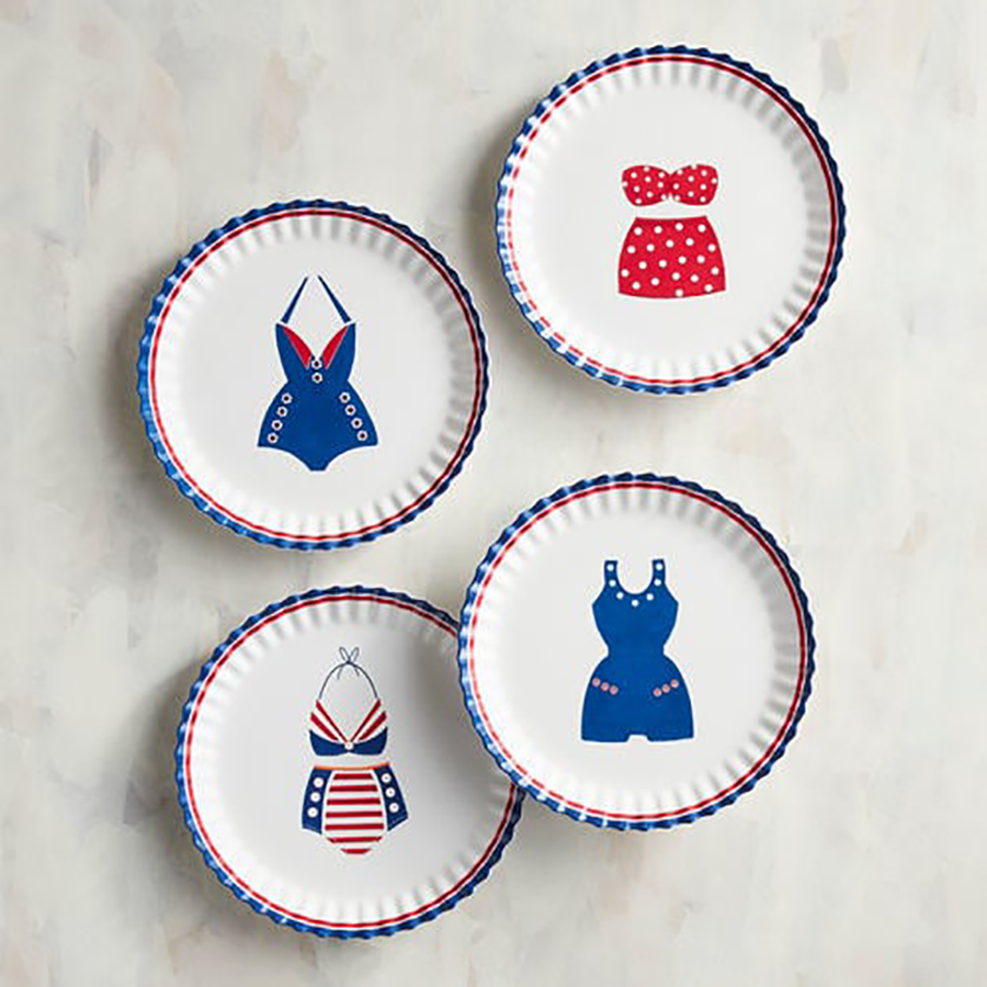 Unbreakable Outdoor Summer Dishes: American Retro Swimsuit Appetizer Plates from Pier 1 Imports