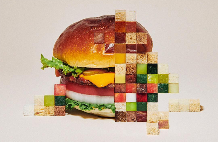 Pixelated food by Yuni Yoshida