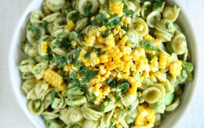 Creative summer pasta salad ideas: Avocado, pesto and corn pasta salad from Delish