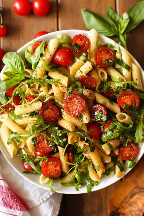 Creative Summer Pasta Salads: Tomato and Arugula Balsamic Pasta Salad from A Saucy Kitchen