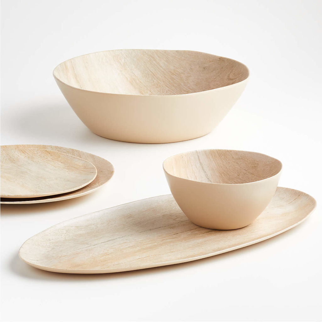 Must-have unbreakable melamine dinnerware: Faux wood bowl at Crate & Barrel