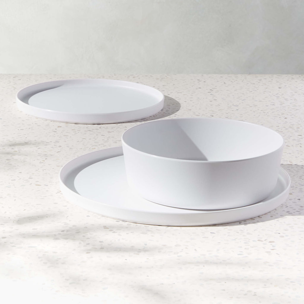 Must-have unbreakable melamine dinner plates: White minimalist plates at CB2