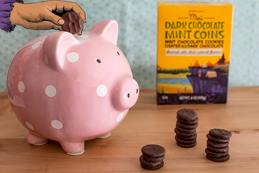 Camp snacks ideas for kids from Trader Joe's: Mini Dark Chocolate Mint Coins