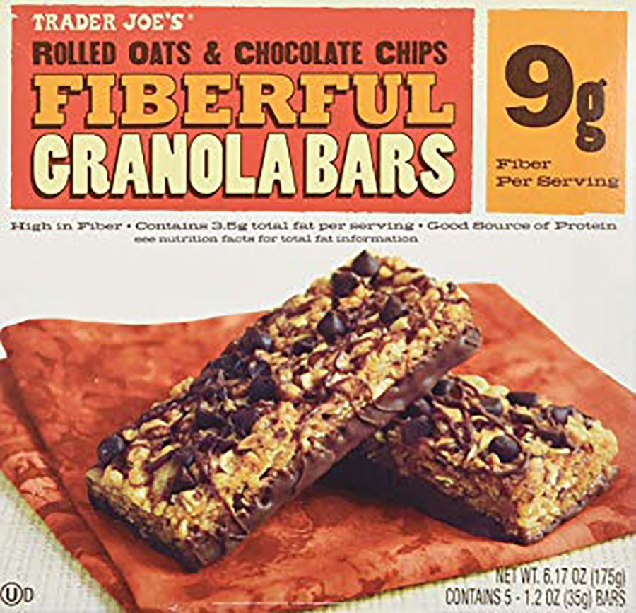 Camp snacks ideas for kids from Trader Joe's: Fiberful Granola Bars with Rolled Oats and Chocolate Chips