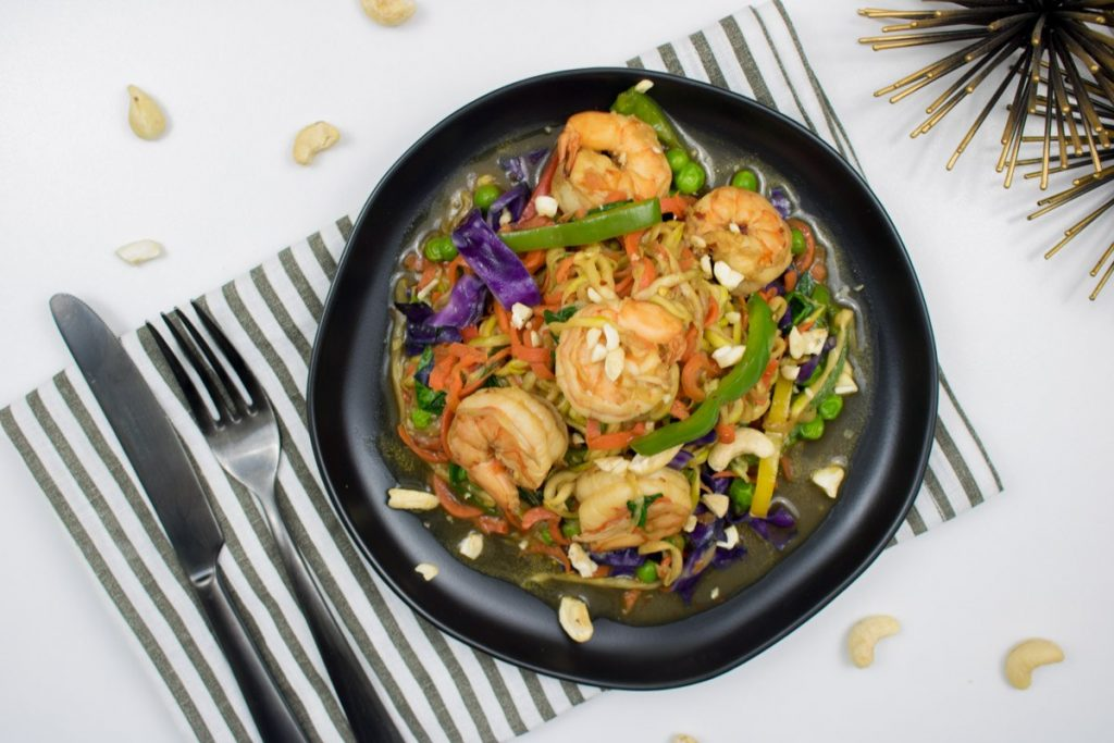 Weekly meal plan idea using foods in season: A light, crunchy, carrot-zucchini-shrimp stir-fry recipe from Orchids and Sweet Tea