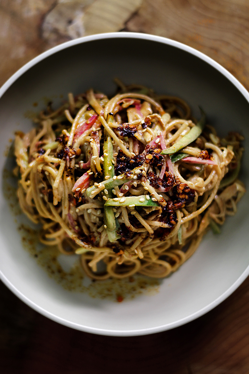 Cold Noodle Dishes:  Fiery Cold Sichuan Sesame Noodle recipe at Lady & Pups