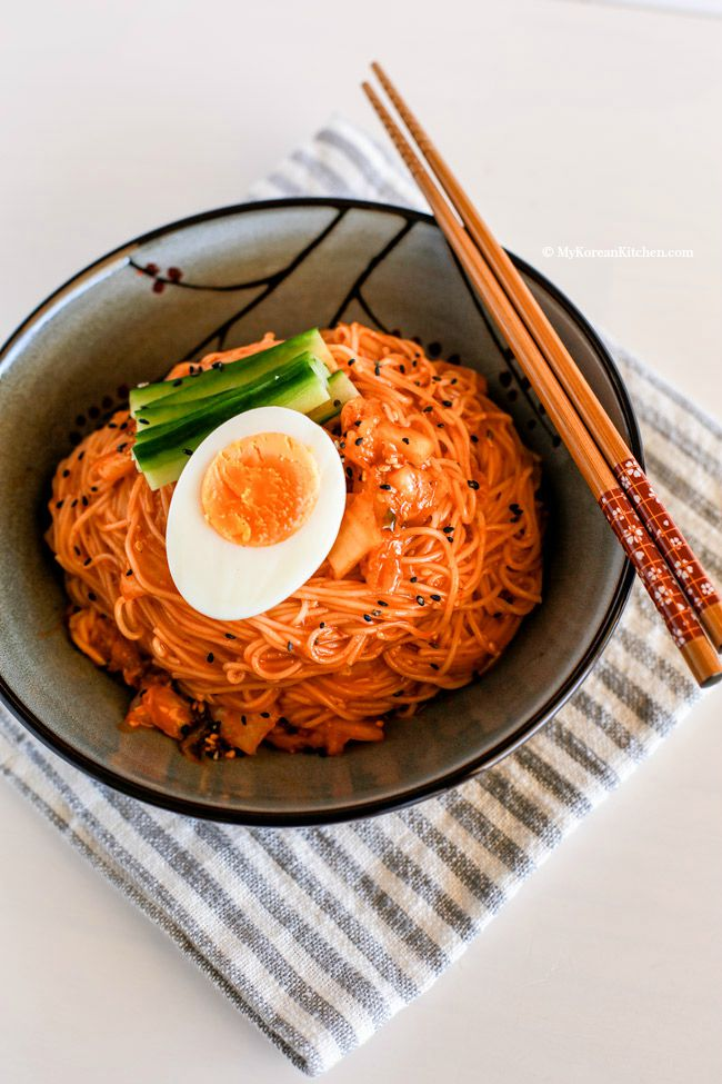 Cold Noodle Dishes: Recipe for Spicy Cold Kimchi Noodles at My Korean Kitchen