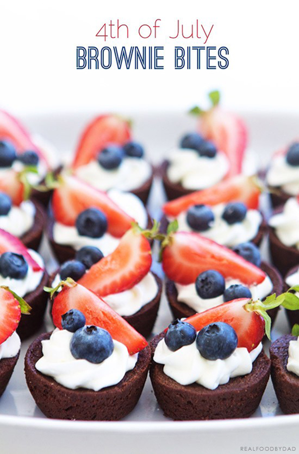 Easy last-minute 4th of July desserts: 4th of July Brownie Bites at Real Food By Dad