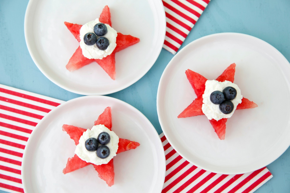 Easy last-minute 4th of July desserts: Watermelon Star Bites at Weelicious