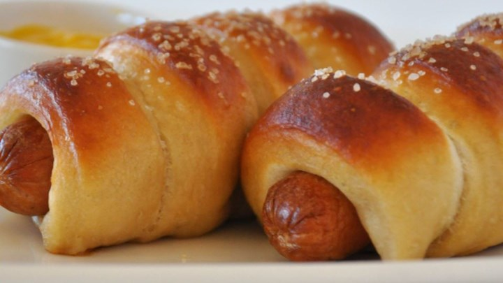 Weekly meal plan idea: Jan's Pretzel dogs via All Recipes