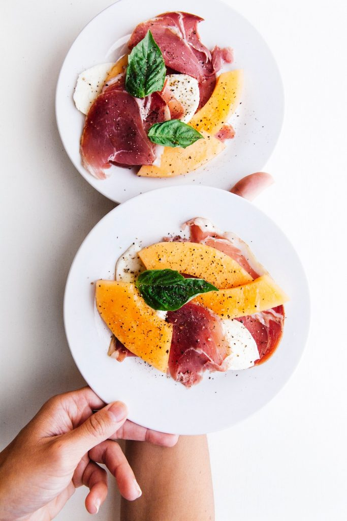 Weekly meal plan: Cooking with what's in season in July, like an easy proscuitto, melon, mozzarella and basil salad that can work as a meal | Cool Mom Eats