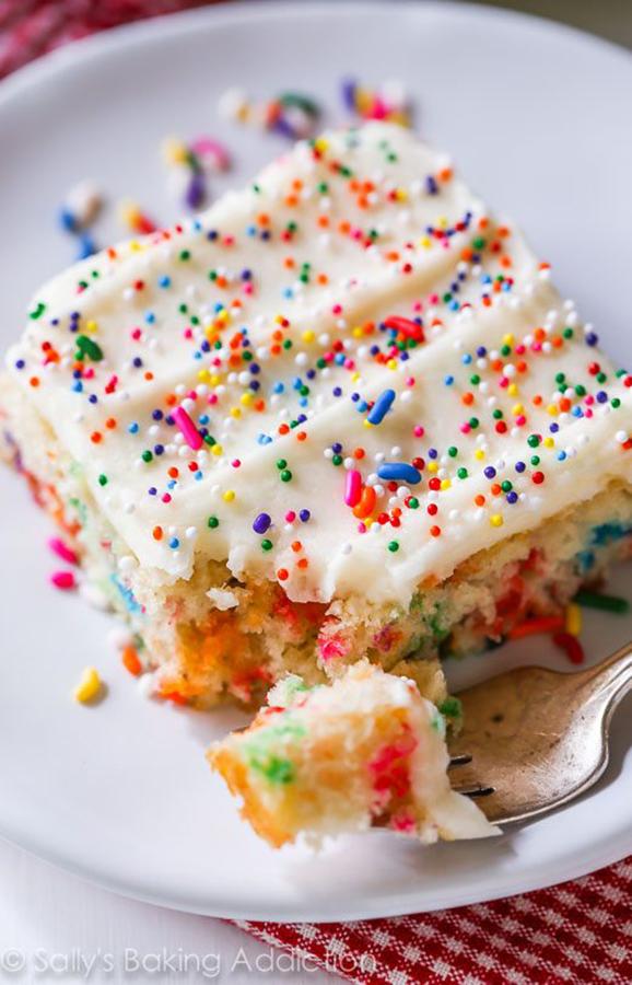 Sheet Cake Recipes That Make Every Celebration Better: Funfetti Sheet Cake at Sally's Baking Addiction