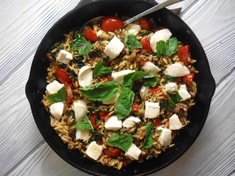 Weekly meal plan: Italian Sausage Caprese Pasta at HomeEc@Home
