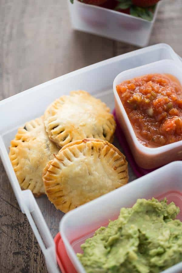 Easy preschool lunch ideas for toddlers: Mini taco hand pies from Lemons for Lulu are perfect for making ahead then serving through the week
