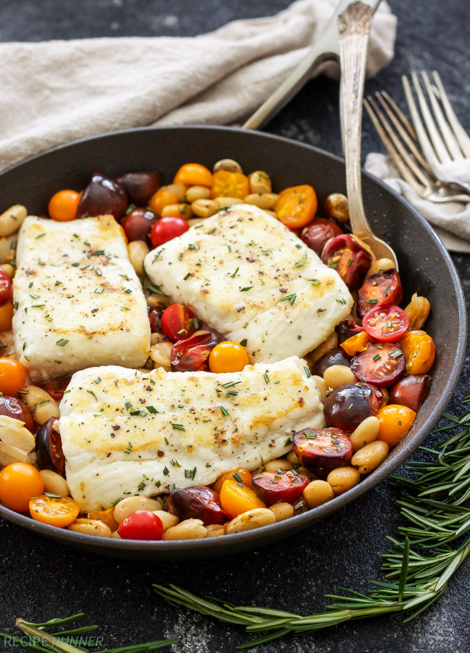 Deliciously simple dinners made with cherry tomatoes: Pan Seared Halibut with Rosemary Tomatoes and White Beans | Recipe Runner