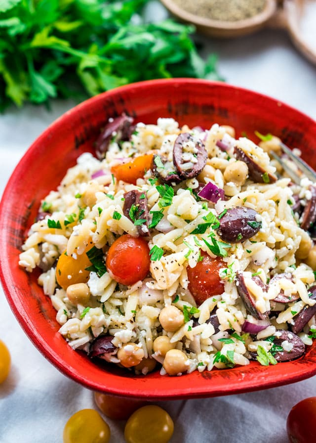 Crowd-pleasing dinners made with cherry tomatoes: Mediterranean Orzo Salad at Jo Cooks