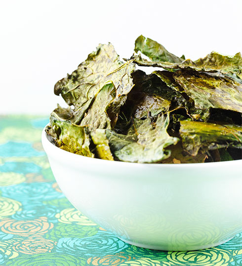 Snack recipes to increase breast milk supply: Garlic Kale Chips at Confetti Kitchen