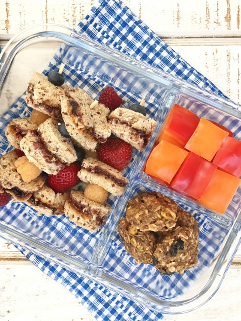 Easy preschool lunch ideas for toddlers: PB&J skewers bento recipe from Weelicious