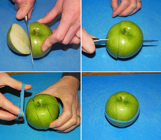 Picky eater school lunch fixes: How to keep apples from browning, at At Home with Real Food