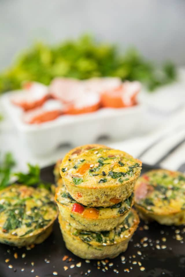 Snack recipes to increase breast milk supply: Sweet potato spinach egg cups at Kim's Cravings