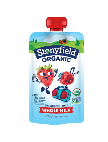 Stonyfield Organic yogurt and fruit squeeze pouches: Healthier alternative to fruit snacks in a lunch box