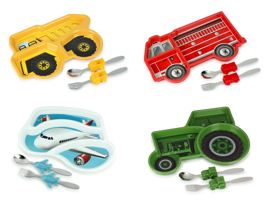 Truck and plane Funtime Meal Time sets for kids help teach portion control -- or just keep food from touching | Dishes to make mealtime fun at CoolMomEats.com