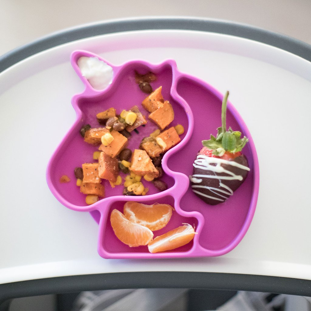 Bumkins silicone unicorn stay-put dish for babies and toddlers | Dishes to make mealtime fun at CoolMomEats.com