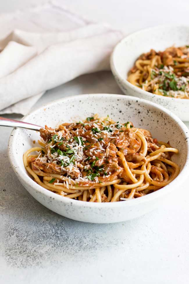 Classic dinner recipes for the Instant Pot: Instant Pot Spicy Chicken Ragu at Girl Gone Gourmet