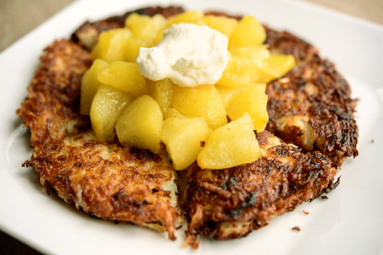 French Potato Pancakes with Apple Compote from Joan Nathan: Perfect for a Rosh Hashanah dinner menu