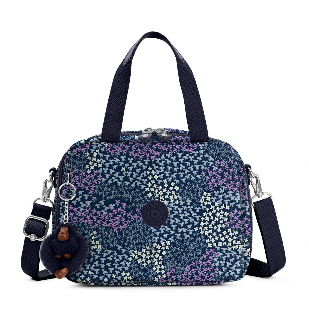 Kipling soft lunch bags in bold colors and fun prints, all on sale