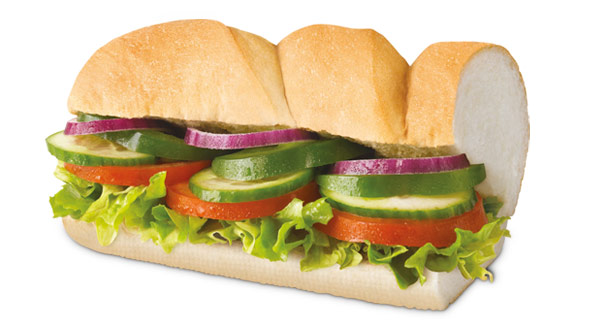 Meatless meals at America's top 10 fast food restaurants: Veggie Delight Sandwich at Subway