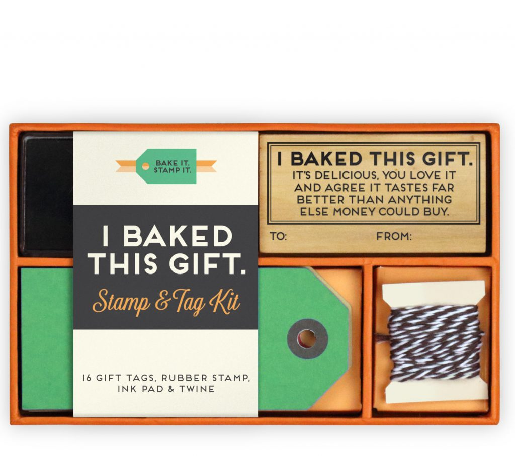 This Robert Mahar designed baking gift card and stamp kit makes homemade food gifts so much more clever -- and easy!