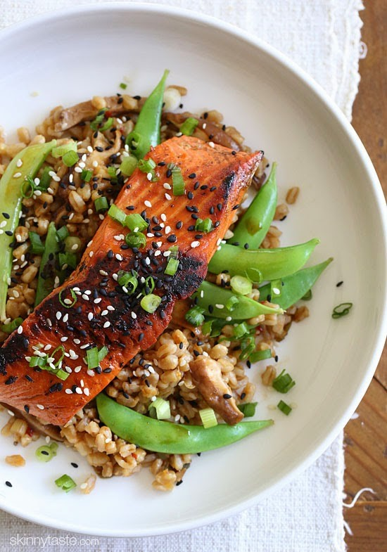 How to use Farro:  Asian Farro Medley with Salmon recipe from Skinny Taste.