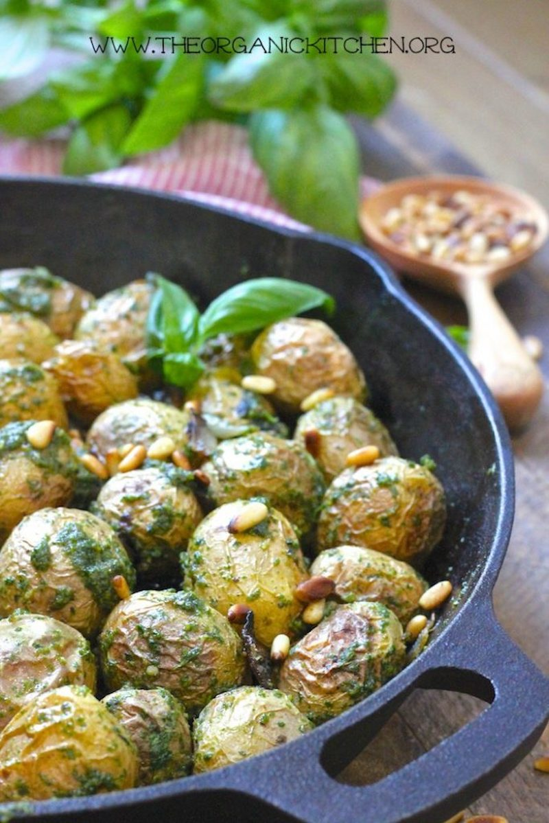 Weekly meal plan: Roasted Baby Potatoes with Pesto at The Organic Kitchen