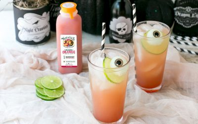 The Bloody Crush Halloween mocktail recipe made from Nathalie's Blood Orange Juice, Lime and Club Soda. Oh, and eyeballs. | Cool Mom Eats