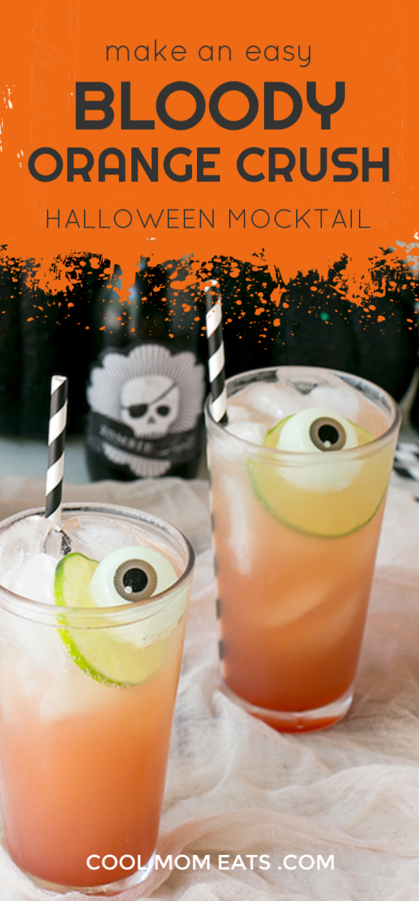 Easy Bloody Orange Crush: Creepy Halloween Mocktail recipe using Nathalie's Blood Orange Juice | CoolMomEats.com