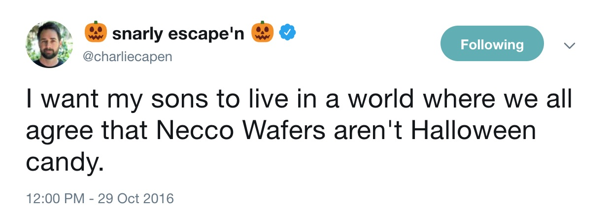 Funny Halloween tweets about candy: @CharlieCapen