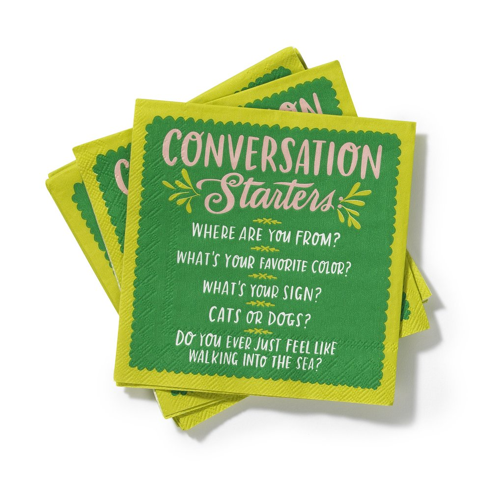 Conversation starter cocktail napkins from Emily McDowell: perfect for introverts!