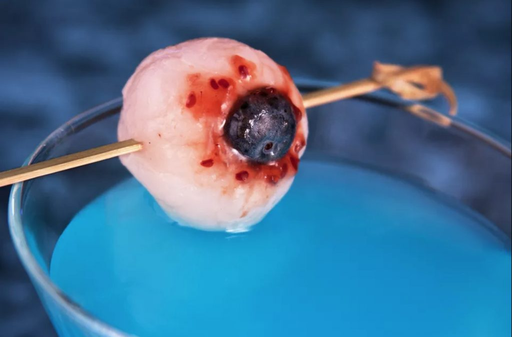 DIY Lychee eyeball cocktail garnish from The Spruce Eats