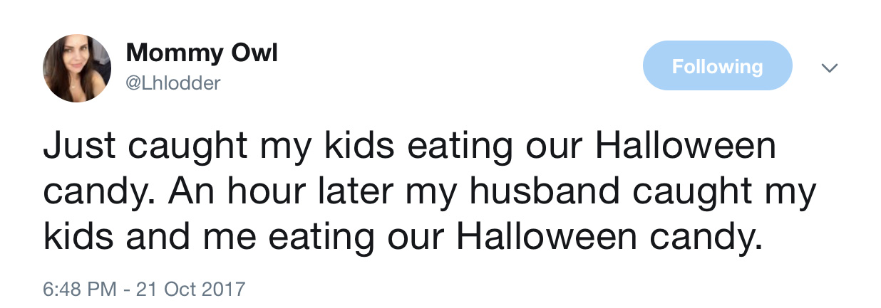 Funny Halloween tweets about candy: @Lhlodder