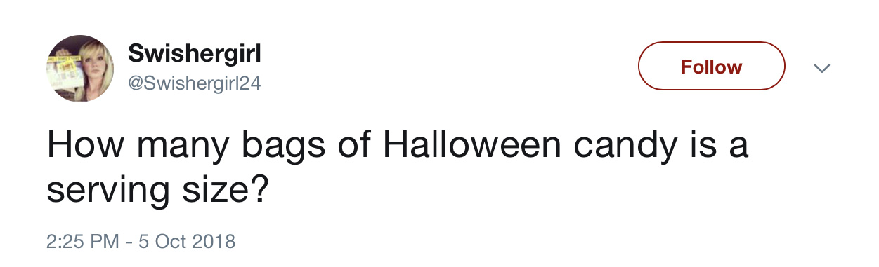Funny Halloween tweets about candy: @Swishergirl