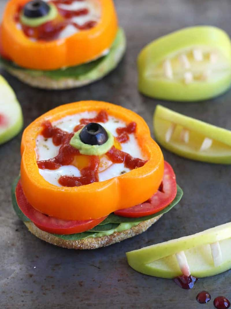Fun Halloween breakfast ideas for kids: Baked Egg Eyeballs at Toaster Oven Love