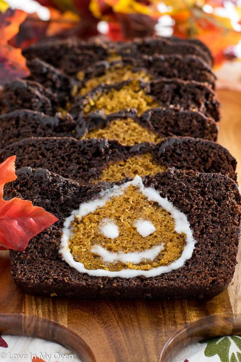 Fun Halloween breakfast ideas for kids: Chocolate Pumpkin Loaf at Love in my Oven