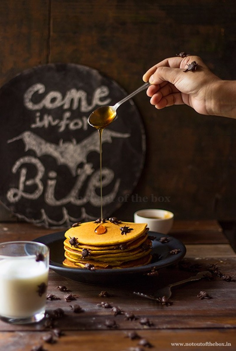 Fun Halloween breakfast ideas for kids: Pumpkin Pancakes with Spiders at Not Out of the Box