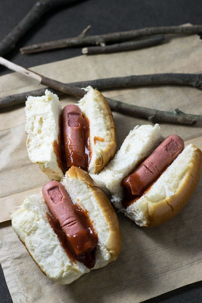 Semi-homemade Halloween party treats you can make last-minute: Bloody Finger hot dogs at Travel Cook Tell