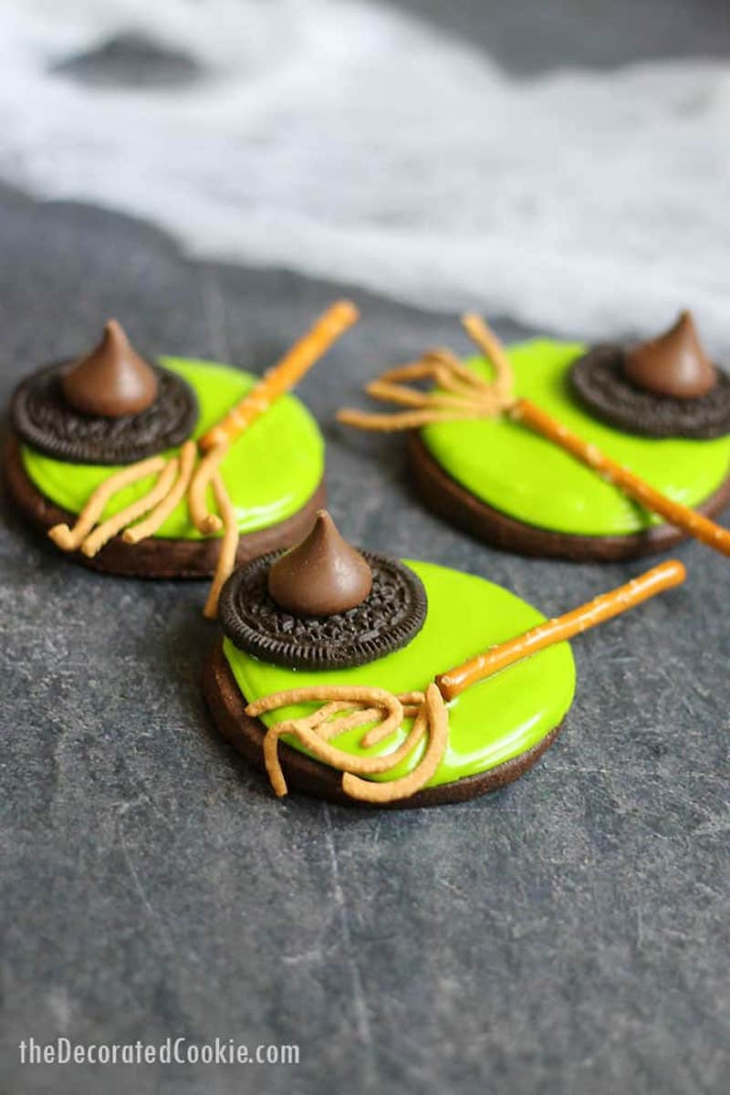Semi-homemade Halloween party treats you can make last-minute: Melted Witch cookies at The Decorated Cookie
