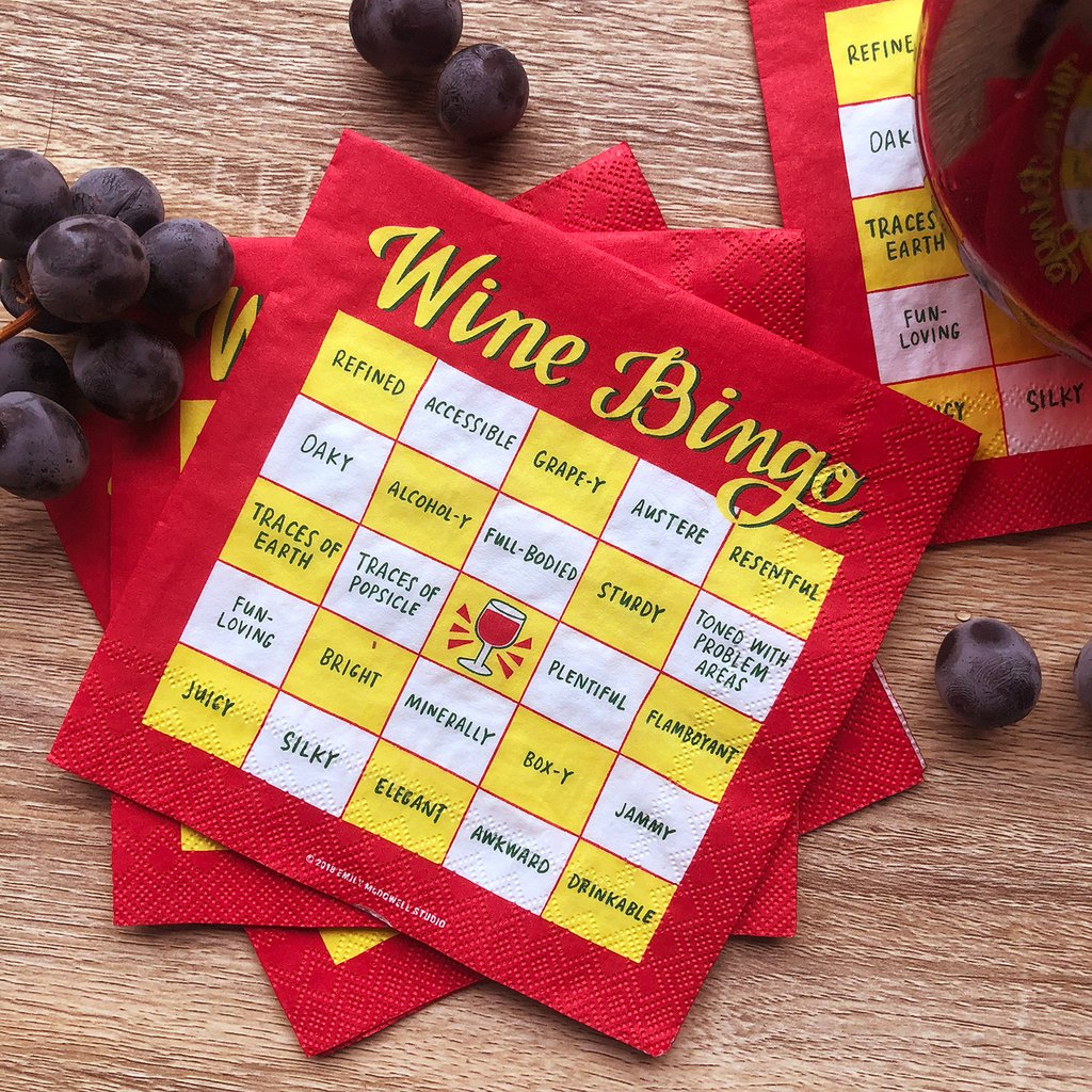 Wine bingo cocktail napkins from Emily McDowell just in time for holiday parties!