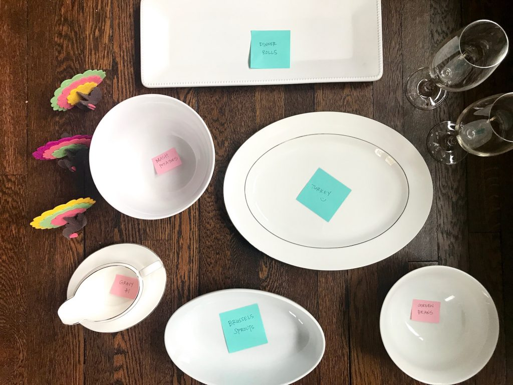 Genius make-ahead Thanksgiving tips: Organize your serveware. | © Jane Sweeney Cool Mom Eats