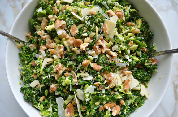 Genius make-ahead Thanksgiving tips: Kale & Brussels Sprout Salad with Walnuts, Parmesan & Lemon-Mustard Dressing | Once Upon A Chef